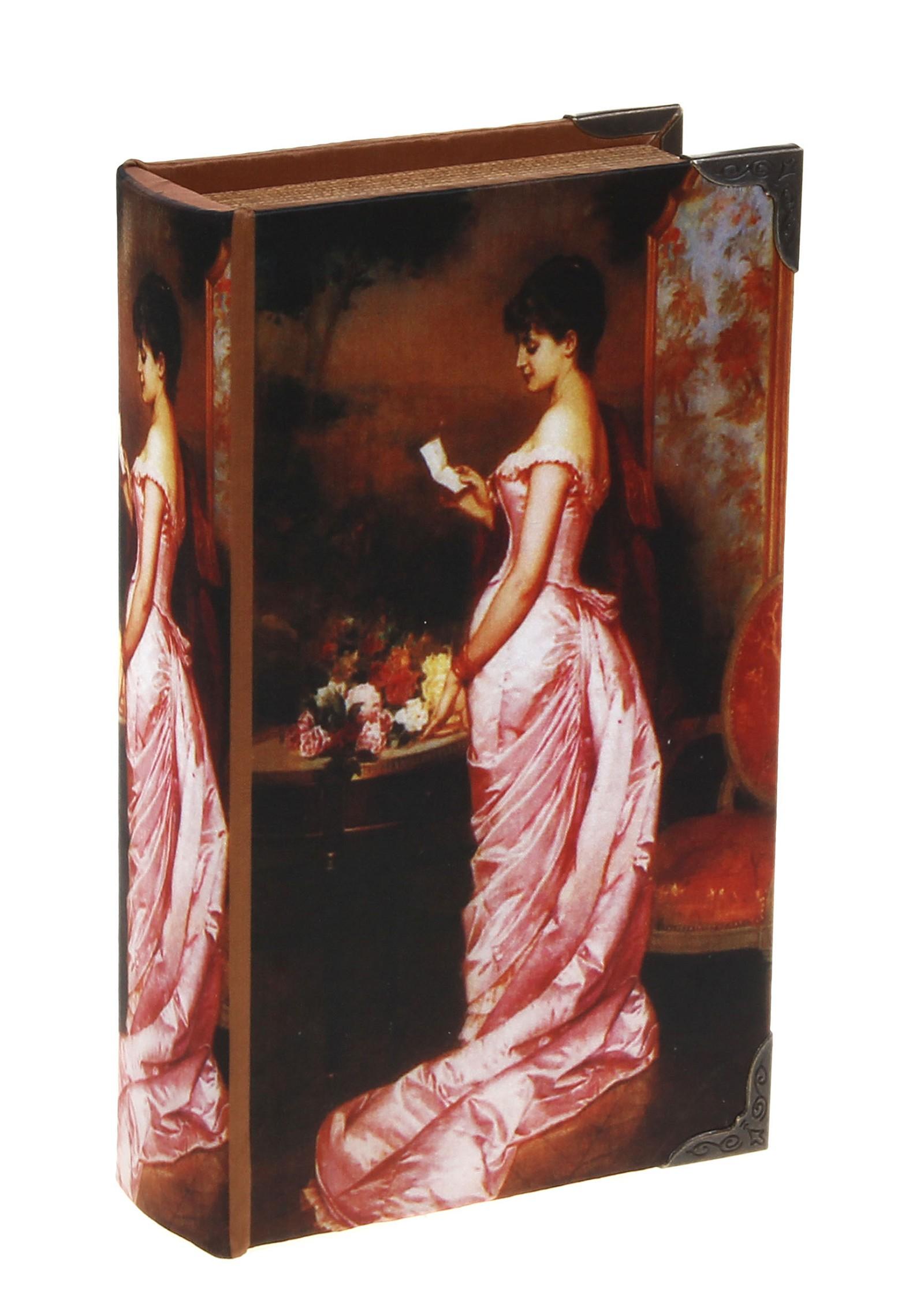 Сейф Леди в розовом, с ключом. 521784521784Сейф Леди в розовом предназначен для хранения денежных средств и ценностей. Обложка, выполненная из дерева, обтянута шелковистой тканью с изображением девушки в розовом платье и оформлена металлическими уголками. Внутри содержится металлический сейф, надежно закрывающийся на ключ. Такой сейф прекрасно подойдет для хранения драгоценностей. Оригинальный и вместительный, он станет чудесным подарком и обязательно порадует получателя. ВНИМАНИЕ! Данный вид сейфа открывается как книга!