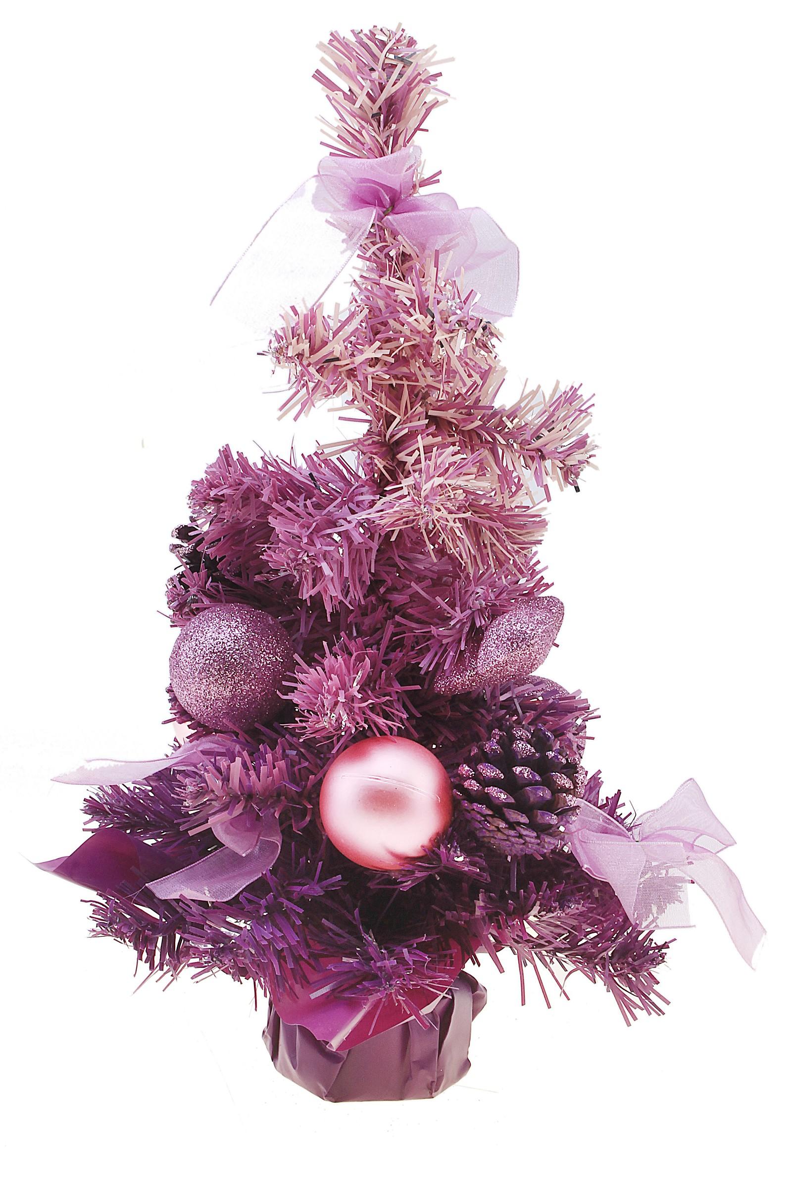 Декоративное украшение Новогодняя елочка, цвет: фиолетовый, высота 31 см. 542621542621Декоративное украшение, выполненное из пластика - мини-елочка фиолетового цвета для оформления интерьера к Новому году. Ее не нужно ни собирать, ни наряжать, зато настроение праздника она создает очень быстро. Елка украшена шишками, лентами, елочными игрушками и шариками. Елка украсит интерьер вашего дома или офиса к Новому году и создаст теплую и уютную атмосферу праздника. Откройте для себя удивительный мир сказок и грез. Почувствуйте волшебные минуты ожидания праздника, создайте новогоднее настроение вашим дорогим и близким.