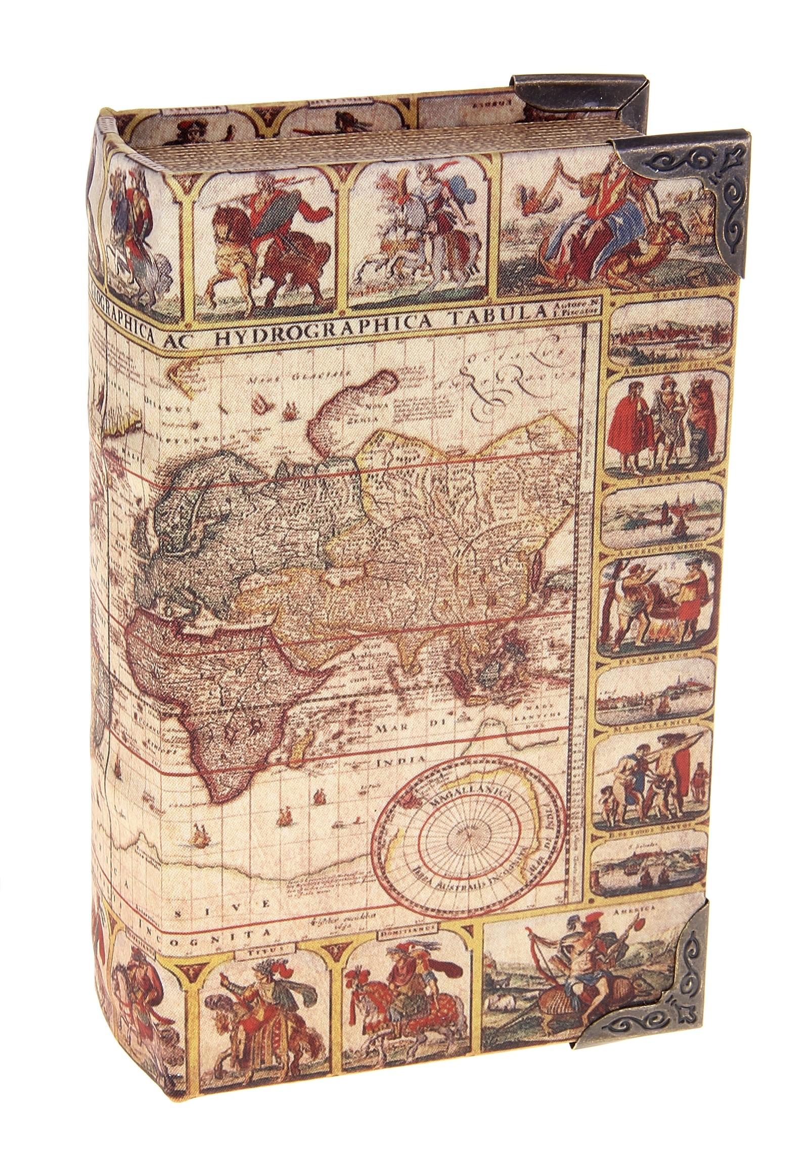 Шкатулка-книга Карта исследователя680635Шкатулка-книга Карта исследователя изготовлена из дерева. Оригинальное оформление шкатулки, несомненно, привлечет внимание. Шкатулка изготовлена в виде книги, поверхность которой выполнена из шёлка и оформлена изображением старинной карты мира. Такая шкатулка может использоваться для хранения бижутерии, в качестве украшения интерьера, а также послужит хорошим подарком для человека, ценящего практичные и оригинальные вещицы. Характеристики: Материал: дерево, шёлк, металл, кожзам. Цвет: коричневый. Размер шкатулки (в закрытом виде): 17 см х 11 см х 5 см. Размер упаковки: 18 см х 12 см х 5,5 см. Артикул: 680635.