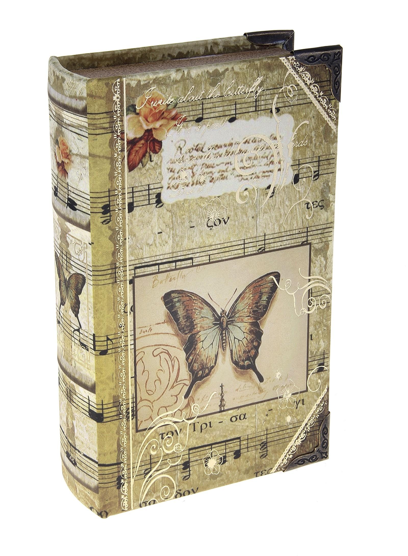 Шкатулка-книга Музыка природы680661Шкатулка-книга Музыка природы изготовлена из дерева. Оригинальное оформление шкатулки, несомненно, привлечет внимание. Шкатулка выполнена в виде книги с изображением бабочки нот, украшена орнаментом. Поверхность шкатулки выполнена из шёлка. Такая шкатулка может использоваться для хранения бижутерии, в качестве украшения интерьера, а также послужит хорошим подарком для человека, ценящего практичные и оригинальные вещицы. Характеристики: Материал: дерево, кожзам, шёлк, металл. Размер шкатулки (в закрытом виде): 21 см х 13 см х 5 см. Размер упаковки: 22 см х 14 см х 6 см. Артикул: 680661.