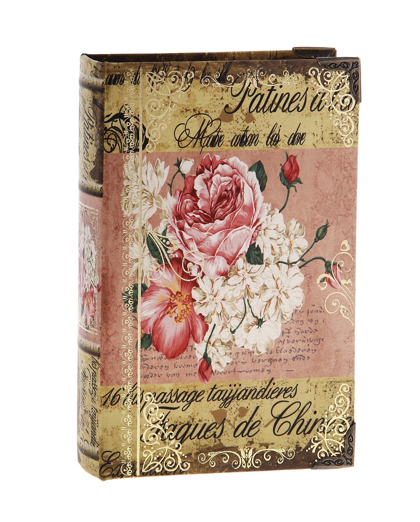 Шкатулка-книга Поэма о цветах680711Оригинальное оформление шкатулки, несомненно, привлечет внимание. Шкатулка выполнена в виде книги, поверхность которой изготовлена из шёлка и оформлена изображением прекрасной цветочной композиции. Такая шкатулка может использоваться для хранения бижутерии, в качестве украшения интерьера, а также послужит хорошим подарком для человека, ценящего практичные и оригинальные вещицы. Характеристики: Материал: дерево, шёлк, металл. Размер шкатулки (в закрытом виде): 24 см х 16 см х 5 см. Размер упаковки: 24,5 см х 16 см х 5 см. Артикул: 680711.