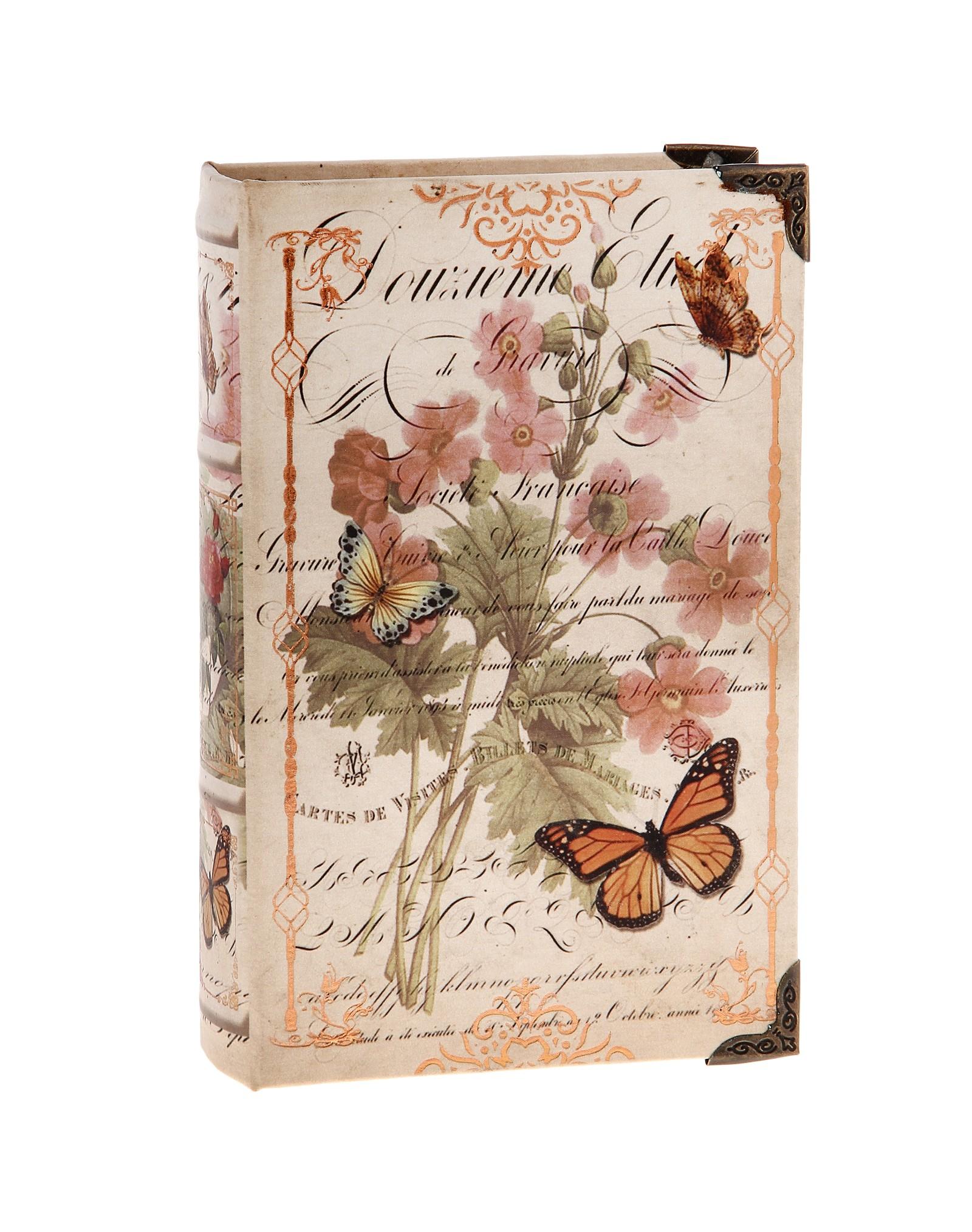 Шкатулка-книга Полевые цветы680713Оригинальное оформление шкатулки, несомненно, привлечет внимание. Шкатулка изготовлена в виде книги из дерева, поверхность которой выполнена из шёлка и оформлена изображением прекрасной цветочной композиции в нежных тонах. Такая шкатулка может использоваться для хранения бижутерии, в качестве украшения интерьера, а также послужит хорошим подарком для человека, ценящего практичные и оригинальные вещицы. Характеристики: Материал: дерево, шёлк, металл. Цвет: коричневый. Размер шкатулки (в закрытом виде): 24 см х 16 см х 5 см. Размер упаковки: 24,5 см х 16 см х 5 см. Артикул: 680713.