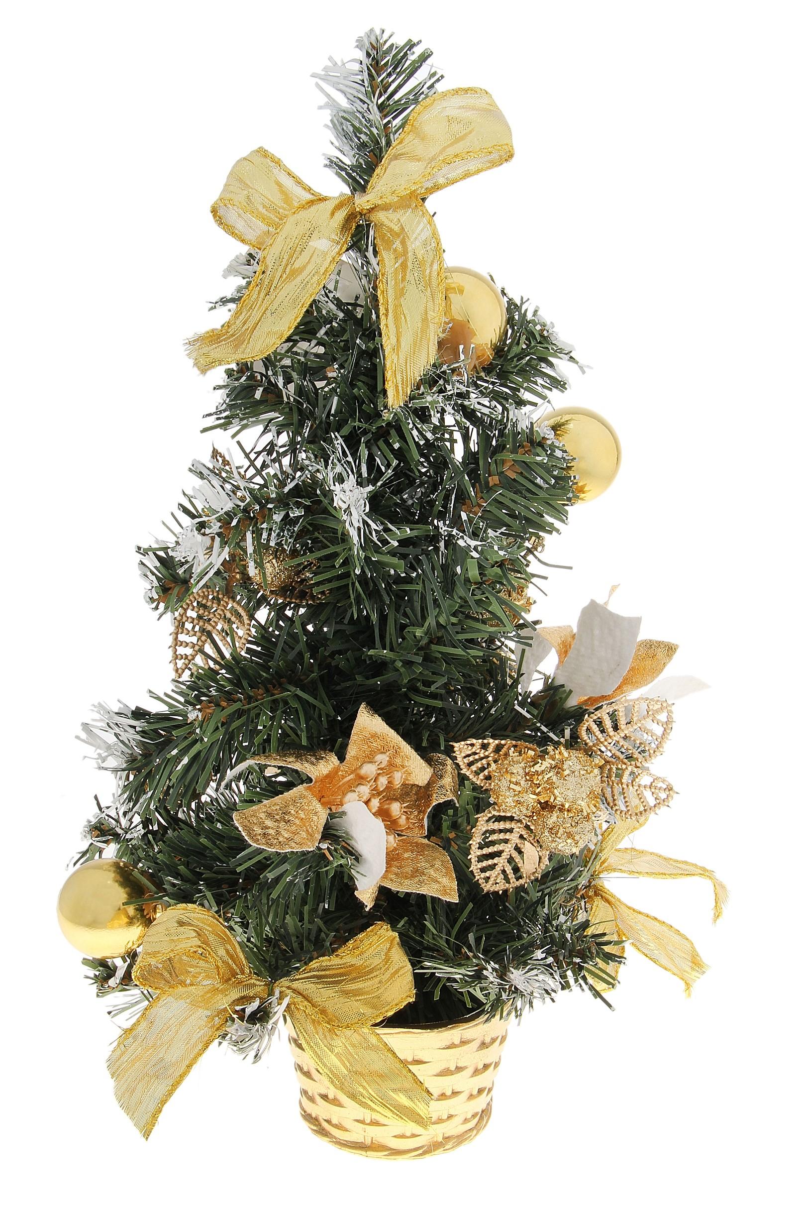 """Декоративное украшение """"Новогодняя елочка"""", цвет: зеленый, золотистый, белый, высота 30 см. 717972"""
