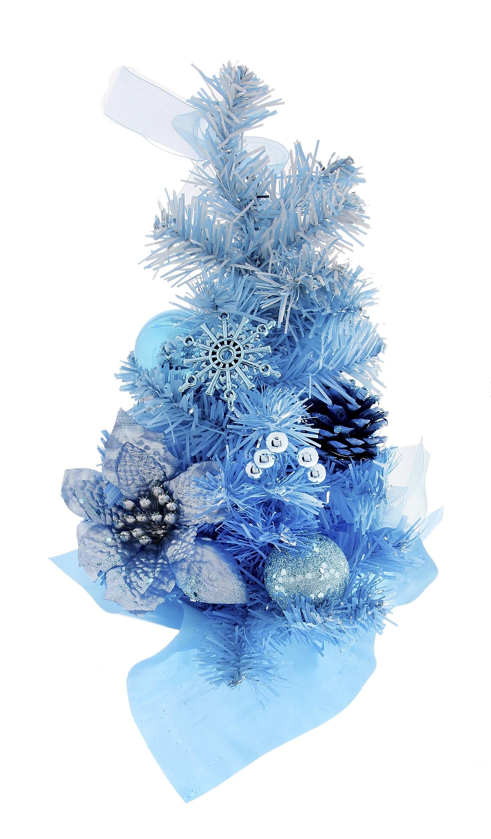 Декоративное украшение Новогодняя елочка, цвет: голубой. 717977717977Оригинальный дизайн новогодней елки притягивает к себе восторженные взгляды. Елка украшена шишками, блестящими лентами, елочными игрушками и шариками. Елка украсит интерьер вашего дома или офиса к Новому году и создаст теплую и уютную атмосферу праздника. Откройте для себя удивительный мир сказок и грез. Почувствуйте волшебные минуты ожидания праздника, создайте новогоднее настроение вашим дорогим и близким.