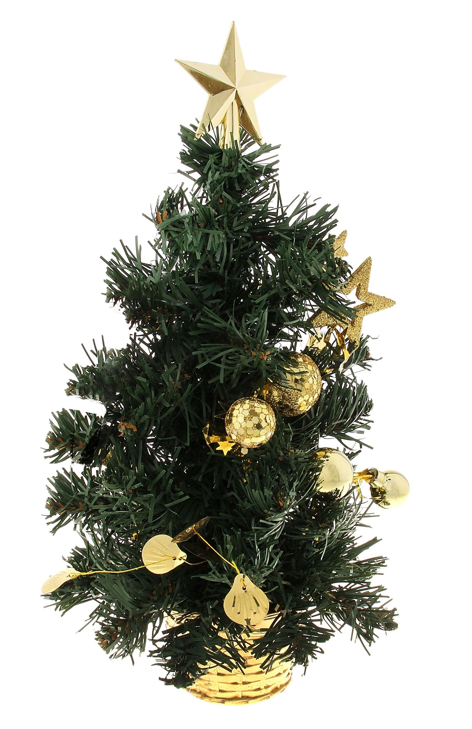 Декоративное украшение Новогодняя елочка, цвет: зеленый, золотистый, высота 30 см. 717982717982Декоративное украшение, выполненное из пластика - мини-елочка зеленого цвета для оформления интерьера к Новому году. Ее не нужно ни собирать, ни наряжать, зато настроение праздника она создает очень быстро. Елка украшена шариками, звездами. Елка украсит интерьер вашего дома или офиса к Новому году и создаст теплую и уютную атмосферу праздника. Откройте для себя удивительный мир сказок и грез. Почувствуйте волшебные минуты ожидания праздника, создайте новогоднее настроение вашим дорогим и близким. Характеристики: Материал: пластик, металл, текстиль. Цвет: зеленый, золотистый. Размер елочки: 17 см х 17 см х 30 см. Артикул: 717982.