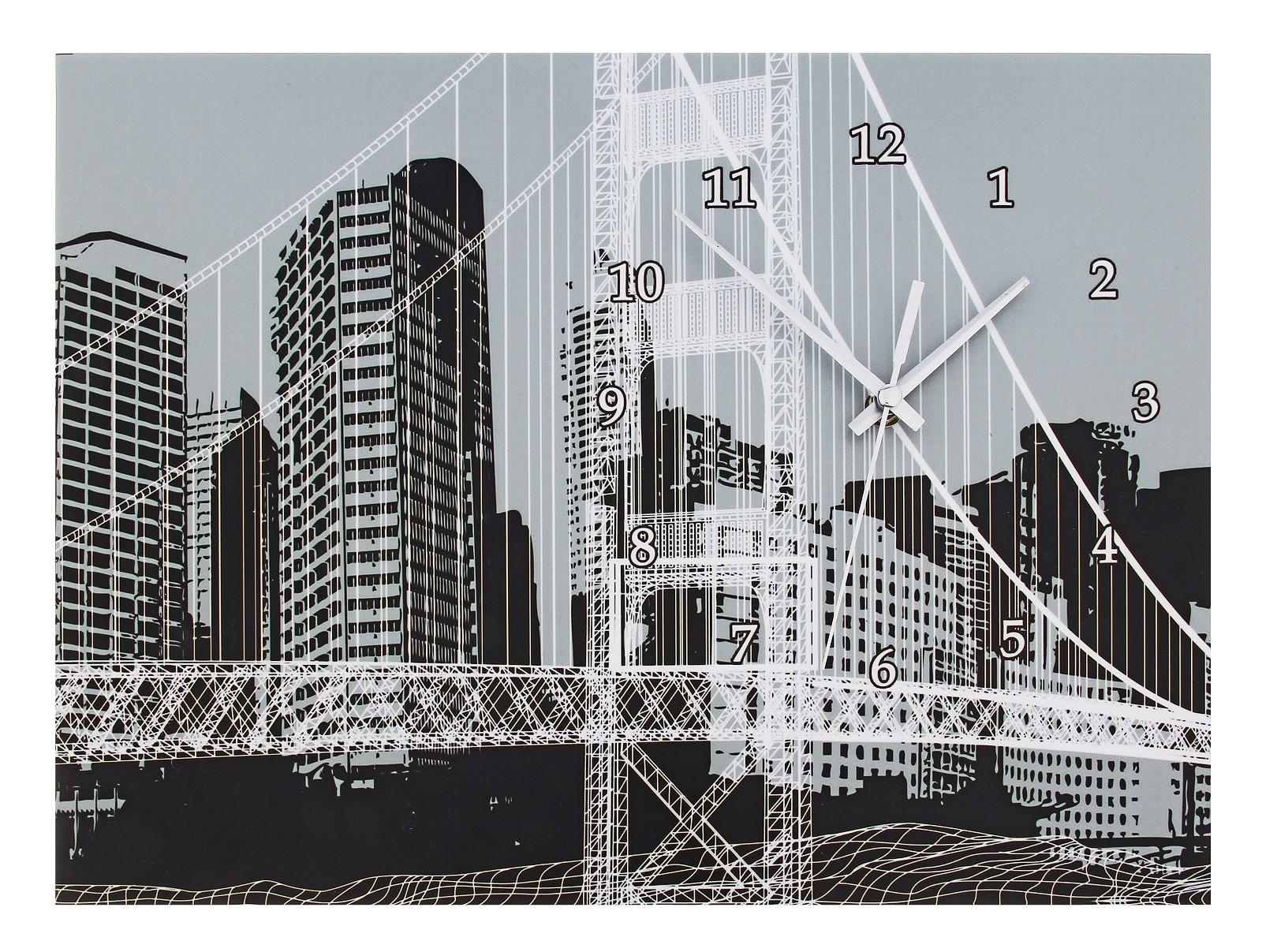 Часы настенные Мост в городе, цвет: мульти. 723293723293Оригинальные настенные часы Мост в городе прямоугольной формы выполнены из МДФ и оформлены изображением моста на фоне города. Часы имеют три стрелки - часовую, минутную и секундную. Циферблат часов не защищен. Необычное дизайнерское решение и качество исполнения придутся по вкусу каждому. Оформите совой дом таким интерьерным аксессуаром или преподнесите его в качестве презента друзьям, и они оценят ваш оригинальный вкус и неординарность подарка. Характеристики: Материал: МДФ, пластик, металл. Размер: 2,5 см x 40 см x 30 см. Размер упаковки: 40,5 см х 30,5 см х 4 см. Артикул: 723293 Работают от батарейки типа АА (в комплект не входит).