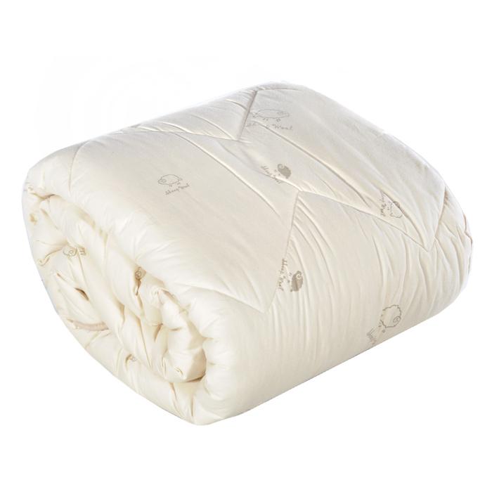 Одеяло Овечка, наполнитель: шерсть мериноса, цвет: бежевый, 200 см х 220 см2904-200-06-3Комфортное стеганое одеяло Овечка подарит вам комфортный и спокойный сон, согреет в холодное время года и даст прохладу в жару. Чехол выполнен из натурального хлопка бежевого цвета с изображением овечек, наполнитель - мягкая и нежная пуховая шерсть мериноса. Воздухопроницаемое одеяло прекрасно регулирует влажность и теплообмен, обеспечивая здоровый, восстанавливающий сон. Одеяло является всесезонным. Мягкость такого одеяла убаюкает перед сном лучше любого снотворного. Успокаивающее действие шерсти мериноса - то, что нужно современному человеку, живущему в быстром ритме. Благодаря специальной технологии изготовления изделие можно стирать в стиральной машине. Одеяло упаковано в пластиковую сумку-чехол на молнии с удобной ручкой. Характеристики: Материал верха: 100% хлопок. Материал наполнителя: 100% шерсть мериноса. Цвет: бежевый. Вес наполнителя: 1350 г. Размер одеяла: 200 см х 220 см. Размер упаковки: 50 см х 40 см...