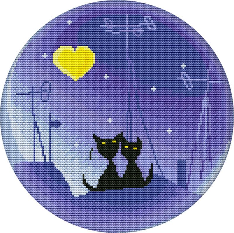 Набор для вышивания крестом Лунная ночь, 33 х 33 см3061-14В наборе для вышивания крестом Лунная ночь есть все необходимое для создания роскошной интерьерной картины: хлопковая аппретированная канва Аида-14 с обработанным краем, белого цвета, цветная символьная схема вышивки, 2 иглы, нитки мулине (100% хлопок), инструкция по вышиванию на русском языке. Необычайной красоты рисунок-вышивка, выполненный в виде изображения двух чёрных котиков на крыше при луне, привлечет к себе внимание и будет потрясающе смотреться в интерьере вашего помещения. Вышивание крестом отвлечет вас от повседневных забот и превратится в увлекательное занятие! Работа, сделанная своими руками, создаст особый уют и атмосферу в доме и долгие годы будет радовать вас и ваших близких.