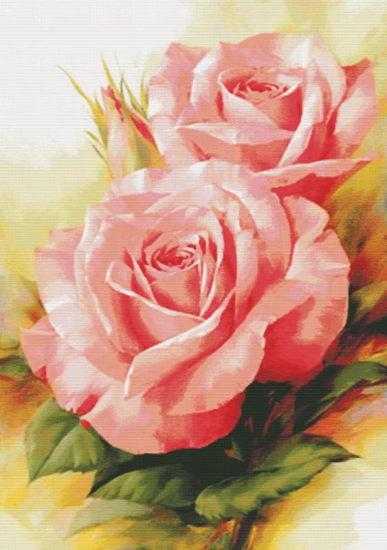 Набор для вышивания крестом  Королевские розы, 75 х 102 см6080-14В наборе для вышивания крестом Королевские розы есть все необходимое для создания роскошной интерьерной картины: хлопковая аппретированная канва Аида-14 с обработанным краем, белого цвета, цветная символьная схема вышивки, 2 иглы, нитки мулине (100% хлопок), инструкция по вышиванию на русском языке. Необычайной красоты рисунок-вышивка, выполненный в виде изображения прекрасных нежно-розовых роз, привлечет к себе внимание и будет потрясающе смотреться в интерьере вашего помещения. Вышивание крестом отвлечет вас от повседневных забот и превратится в увлекательное занятие! Работа, сделанная своими руками, создаст особый уют и атмосферу в доме и долгие годы будет радовать вас и ваших близких.