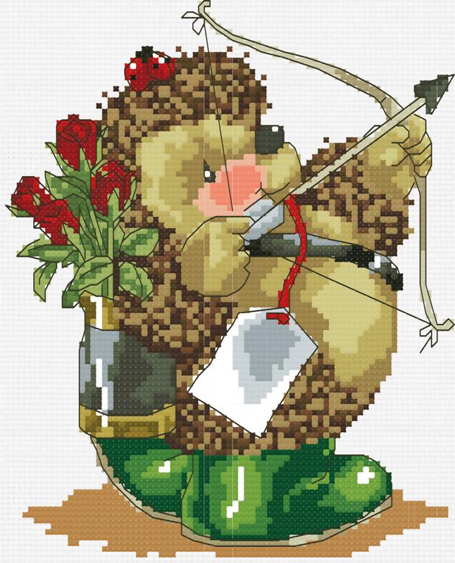 Набор для вышивания крестом Колючий амур, 25 х 29 см766-14В наборе для вышивания крестом Колючий амур есть все необходимое для создания роскошной интерьерной картины: хлопковая аппретированная канва Аида-14 с обработанным краем, белого цвета, цветная символьная схема вышивки, 2 иглы, нитки мулине (100% хлопок), инструкция по вышиванию на русском языке. Симпатичный рисунок-вышивка, выполненный в виде изображения забавного ёжика, привлечет к себе внимание и будет потрясающе смотреться в интерьере вашего помещения или детской комнаты. Вышивание крестом отвлечет вас от повседневных забот и превратится в увлекательное занятие! Работа, сделанная своими руками, создаст особый уют и атмосферу в доме и долгие годы будет радовать вас и ваших близких.