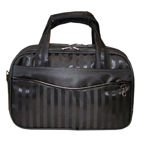 Сумка дорожная Antan, цвет: черный. 2-24620010744990Стильная дорожная сумка Antan выполнена из текстиля черного цвета с принтом в полоску. Сумка имеет два основных отделения, котороые закрываются на застежку-молнию с двумя бегунками. Внутри содержится два вшитых кармана на молнии и два открытых кармашка. С передней и задней стороны расположены длинные карманы на молнии. Сумка оснащена уплотненным дном, двумя удобными ручками и отстегивающимся плечевым ремнем регулируемой длины. Фурнитура - серебристого цвета. Функциональная и вместительная, такая сумка поможет не только уместить все необходимые вещи, но и станет модным аксессуаром, который идеально дополнит ваш образ.
