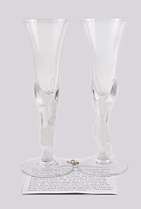 Бокалы Снежные голуби. Хрусталь, House of Faberge, 1990-е гг
