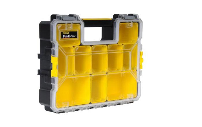 Органайзер профессиональный пластмассовый Stanley FatMax, 11,6 см1-97-521Органайзер Stanley FatMax имеет съемные отделения для мелких деталей и аксессуаров. Замки по бокам предназначены для надежного скрепления нескольких органайзеров при размещении их друг на друга. Ударопрочная прозрачная крышка из поликарбоната имеет уникальную конструкцию, удерживающую отделения для хранения на месте.
