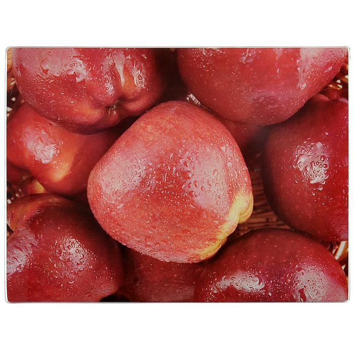 """Доска разделочная Gotoff """"Красные яблоки"""", стеклянная, 30 см х 40 см. WTC30403"""