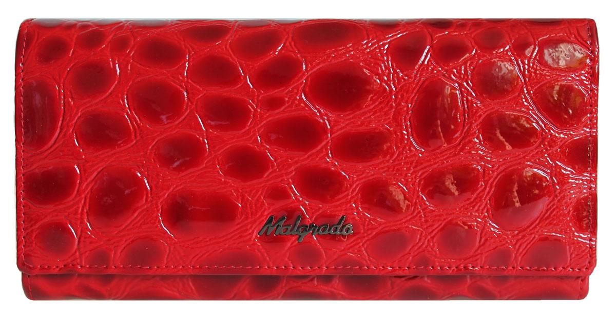 Кошелек Malgrado, цвет: красный. 72032-3-38402#72032-3-38402#Стильный кошелек Malgrado выполнен из лаковой натуральной кожи красного цвета с декоративным тиснением под рептилию, застегивается клапаном на кнопку. Внутри содержит один горизонтальный карман для бумаг, девять кармашков для кредитных карт, отделение на замке-защелке для мелочи и четыре отделения для купюр, одно из которых на молнии. Кошелек упакован в подарочную металлическую коробку с логотипом фирмы. Такой кошелек станет замечательным подарком человеку, ценящему качественные и практичные вещи.