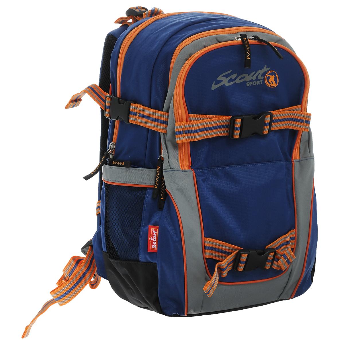 Рюкзак Scout Backpack Skate, цвет: синий, оранжевый257700-070Рюкзак Scout Backpack Skate сочетает в себе современный дизайн, функциональность и долговечность и является отличной находкой для любителей уличного спорта. Рюкзак выполнен из прочного текстильного материала синего и оранжевого цветов и состоит из двух вместительных отделений, закрывающихся на застежки-молнии с двумя бегунками. На лицевой стороне рюкзака расположен внешний накладной карман, закрывающийся на застежку-молнию. Внутри него находится мягкий кармашек для телефона, закрывающийся хлястиком на липучке. Бегунки на застежках дополнены удобными держателями из текстильного шнура. Также на лицевой стороне рюкзака сверху и снизу расположены крепления в виде текстильных ремней с пластиковыми карабинами. С помощью них к рюкзаку можно прикрепить скейтборд, куртку или многое другое. По бокам расположены регулируемые ремни сжатия для более жесткой фиксации отделений и равномерного распределения нагрузки, а также два внешних сетчатых кармана. Мягкая набивка...