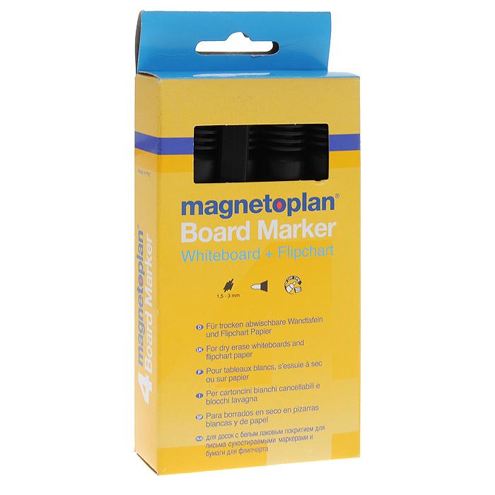Набор маркеров Magnetoplan, 4 шт1228112Набор черных маркеров Magnetoplan предназначен для письма и рисования как на бумаге для флипчарта, так и на белой доске с лаковым покрытием в школе или офисе. Набор включает в себя четыре маркера черного цвета. Корпус маркеров выполнен из пластика. Влагоустойчивые чернила на спиртовой основе быстро сохнут и не размазываются. Круглый наконечник дает аккуратную четкую линию. Набор упакован в коробку с европодвесом.