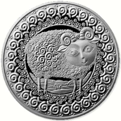 Монета номиналом 1 рубль Знаки зодиака. Овен. Беларусь, 2009 год211104Монета Овен номиналом 1 рубль. Беларусь, 2009 год. Масса монеты: 13,16 гр. Качество: бриллиант-анциркулейтед Диаметр: 32 мм Тираж: 10000 шт.