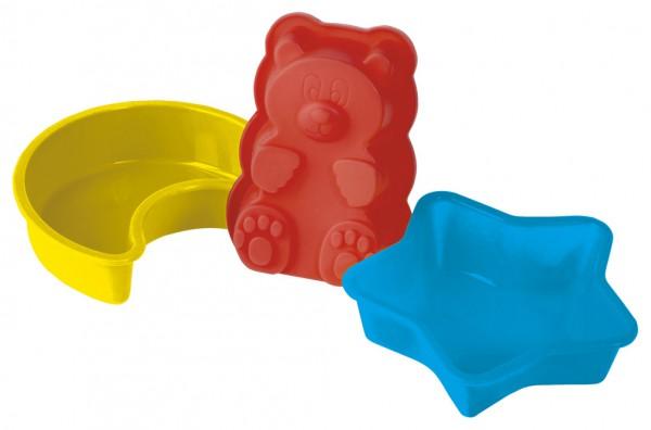 Набор форм для выпечки и заморозки Мишка на севере, 6 предметов93-SI-S-05Набор Мишка на севере состоит из двух силиконовых форм Звезда, двух силиконовых форм Месяц и двух силиконовых форм Медвежонок. Набор предназначен для выпечки оригинальных мини-кексов или для заморозки. Силиконовые формы для выпечки и заморозки продуктов имеют много преимуществ по сравнению с традиционными металлическими формами и противнями. Они идеально подходят для использования в микроволновых, газовых и электрических печах при температурах до +230°С. В случае заморозки до -40°С. За счет высокой теплопроводности силикона изделия выпекаются заметно быстрее. Благодаря гибкости и антиприлипающим свойствам силикона, готовое изделие легко извлекается из формы. Для этого достаточно отогнуть края и вывернуть форму (выпечке дайте немного остыть, а замороженный продукт лучше вынимать сразу). Силикон абсолютно безвреден для здоровья, не впитывает запахи, не оставляет пятен, не вступает в реакцию с продуктами, легко моется. Походит для использования в...