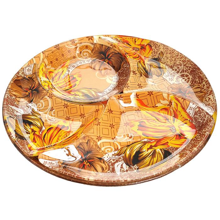 Менажница Lillo, 4 секции. 213382213382Менажница, изготовленная из высококачественного стекла, декорирована необычным узорам и яркими цветами. Представлена в виде блюда и отдельных 4 секций, при соединении которых получается целое блюдо. Некоторые блюда можно подавать только в менажнице, чтобы не произошло смешение вкусовых оттенков гарниров. Также менажница может быть использована в качестве посуды для нескольких видов салатов или закусок.