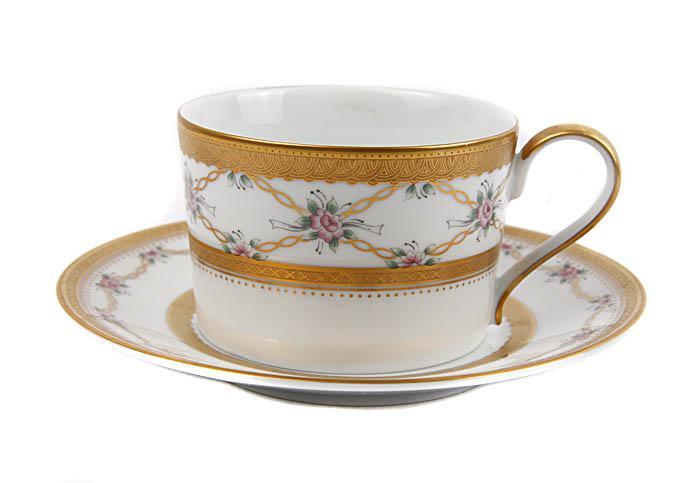 Чайная пара Решетки, увитые розами. Фарфор, деколь, роспись. Faberge, Франция, вторая половина XX века