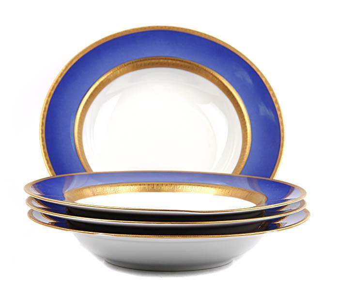 Комплект из четырех суповых тарелок Фаберже Афина. Фарфор, деколь, роспись. Faberge, Франция, вторая половина XX века