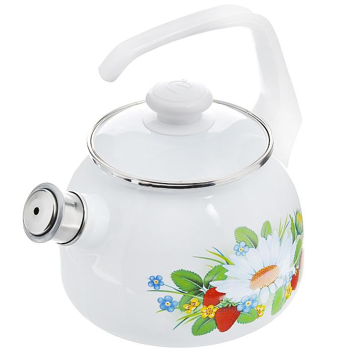 Чайник эмалированный Лесная, со свистком, 2,5 л27114АП_2711АП10/4 ЛеснаяЧайник Лесная выполнен из высококачественной стали и покрыт эмалью белого цвета. Чайник имеет классическую форму, оснащен удобной ручкой. Корпус оформлен изображением цветов и ягод. Носик чайника имеет съемный свисток, звуковой сигнал которого подскажет, когда закипит вода. Такой чайник не требует особого ухода и его легко мыть. Благодаря классическому дизайну и удобству в использовании чайник займет достойное место на вашей кухне. Характеристики: Материал: сталь, эмаль, пластик. Цвет: белый. Объем: 2,5 л. Диаметр основания чайника: 17 см. Высота чайника с учетом ручки: 25 см. Размер упаковки: 25 см х 19 см х 19 см.