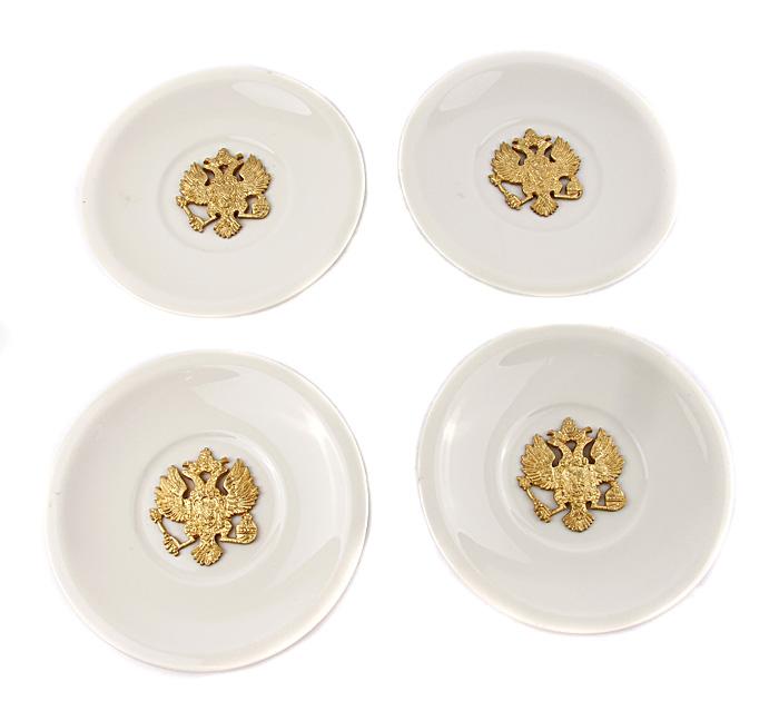 Набор декоративных тарелочек с имперской символикой. Фарфор, металл, прочеканка, середина XX века