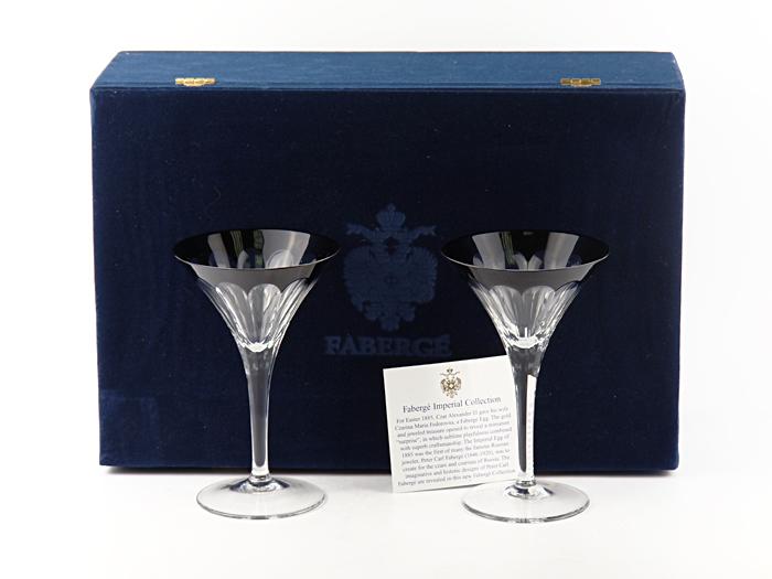 Комплект бокалов для мартини Великий князь. Хрусталь, серебрение. Faberge, Франция, вторая половина XX века