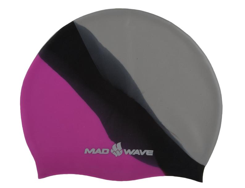 """Шапочка для плавания MadWave """"Multi Big"""", силиконовая, цвет: розовый, черный, серый M0531 11 2 11W"""