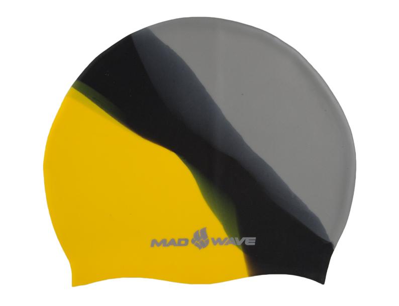 Шапочка для плавания MadWave Multi Big, силиконовая, цвет: серый, черный, желтыйM0531 11 2 06WШапочка для плавания MadWave Multi Big классической плоской формы увеличенного размера. Изготовлена из высококачественного силикона устойчивого к воздействию хлорированной воды, что обеспечивает долгий срок использования. Характеристики: Материал: силикон. Размер шапочки: 23 см x 19 см. Производитель: Китай. Артикул: M0531 11 2 06W.