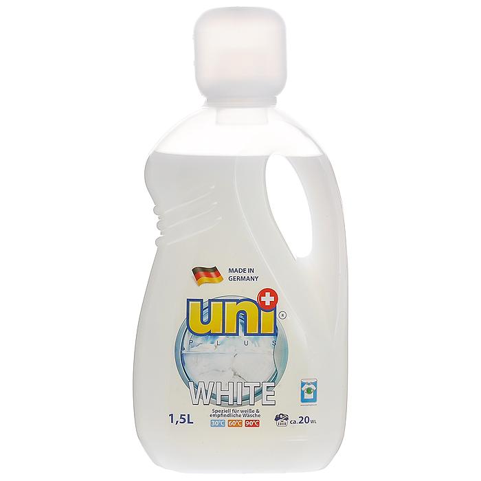 Жидкое средство UniPlus White для стирки белых и деликатных тканей, 1,5 л200131Жидкое средство UniPlus White подходит для стирки белых и деликатных тканей. Эффективно отстирывает, и вместе с тем защищает одежду во время стирки. Специальная формула обеспечивает белизну вещей, без труда удаляет из ткани въевшуюся желтизну и серость. Средство не содержит хлор и другие агрессивные вещества, благодаря чему не разрушается структура красок и тканей. Хорошо выполаскивается и не оказывает вредного влияния на кожу. После применения жидкого средства для стирки UniPlus ткань приобретает приятный аромат, мягкость, становится приятной на ощупь. Жидкость эффективно отстирывает при температурах от 30°С до 90°С. Предназначена для стирки в стиральных машинах любого типа и для ручной стирки. Не применять для стирки изделий из натурального шелка. В составе средства содержаться компоненты, которые защищают стиральную машину от образования известковых наслоений, что продлевает срок службы стиральной машины.