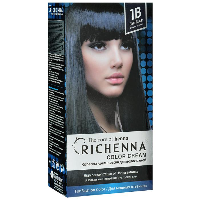 Richenna Крем-краска для волос, с хной, 1B. Иссиня-черный29005Крем-краска для волос Richenna с хной рекомендуется для безопасного изменения цвета волос, полного окрашивания седых волос и в случае повышенной чувствительности к искусственным компонентам краски для волос. Высокая концентрация экстракта хны в составе крем-краски позволяет уменьшить повреждение волос, сделать их эластичными и здоровыми, придает волосам живой цвет и красивый блеск. Не раздражая кожу, крем-краска полностью закрашивает седину и обладает приятным цветочным ароматом. Упаковка средства в 2-х отдельных тубах позволяет использовать средство несколько раз в зависимости от объема и длины волос. Благодаря кремовой текстуре хорошо наносится и не течет. Время окрашивания 20-30 мин.
