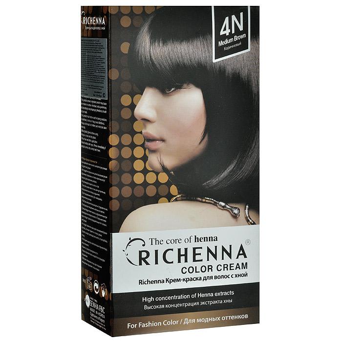Richenna Крем-краска для волос, с хной, оттенок 4N Коричневый29002Крем-краска для волос Richenna с хной позволяет уменьшить повреждение волос, сделать их эластичными и здоровыми, придать волосам живой цвет и красивый блеск. Не раздражая кожу, крем-краска полностью закрашивает седину и обладает приятным цветочным ароматом. Рекомендуется для безопасного изменения цвета волос, полного окрашивания седых волос и в случае повышенной чувствительности к искусственным компонентам краски для волос. Благодаря кремовой текстуре хорошо наносится и не течет. Время окрашивания 20-30 минут. Упаковка средства в 2-х отдельных тубах позволяет использовать средство несколько раз в зависимости от объема и длины волос. Объем крема-краски 60 г, объем крема-окислителя 60 г, объем шампуня с хной 10 мл, объем кондиционера с хной 7 мл. В комплекте: 1 тюбик с крем-краской, 1 тюбик с крем-окислителем, пакетик с шампунем, пакетик с кондиционером, 1 пара перчаток, накидка, пластиковая тара, расческа-кисточка для нанесения и распределения...