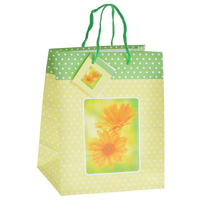 Пакет подарочный Желтая ромашка, цвет: желтый, 17,5 х 22,5 х 10 см Ф21-1459Ф21-1459Бумажный подарочный пакет выполнен из плотного картона желтого цвета с принтом в белый горошек и оформлен красочным изображением желтых ромашек. Дно изделия укреплено плотным картоном, который позволяет сохранить форму пакета и исключает возможность деформации дна под тяжестью подарка. Для удобной переноски на пакете имеются две текстильные ручки. Подарок, преподнесенный в оригинальной упаковке, всегда будет самым эффектным и запоминающимся. Окружите близких людей вниманием и заботой, вручив презент в нарядном, праздничном оформлении.