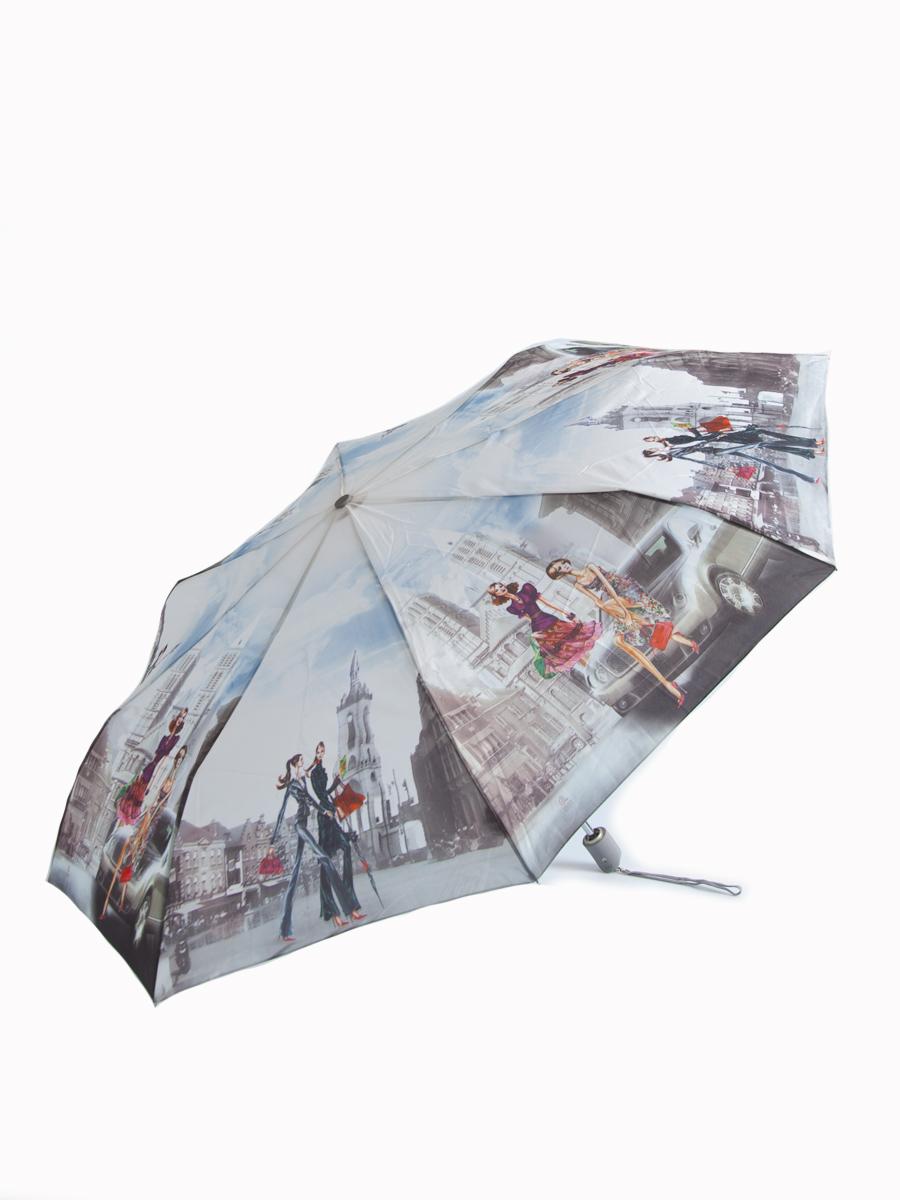 Зонт женский Zest, автомат, 3 сложения. 239555-05239555-05Женский автоматический зонт Zest в 3 сложения даже в ненастную погоду позволит вам оставаться стильной и элегантной. Каркас зонта состоит из 8 спиц из фибергласса и стали и прочного алюминиевого стержня. Специальная система Windproof защищает его от поломок во время сильных порывов ветра. Купол зонта выполнен из прочного полиэстера с водоотталкивающей пропиткой и оформлен изображением девушек, гуляющих по городу. Используемые высококачественные красители, а также покрытие Teflon обеспечивают длительное сохранение свойств ткани купола. Рукоятка, разработанная с учетом требований эргономики, выполнена из приятного на ощупь прорезиненного пластика серого цвета. Зонт имеет полный автоматический механизм сложения: купол открывается и закрывается нажатием кнопки на рукоятке, стержень складывается вручную до характерного щелчка, благодаря чему открыть и закрыть зонт можно одной рукой, что чрезвычайно удобно при входе в транспорт или помещение. На рукоятке для удобства есть...