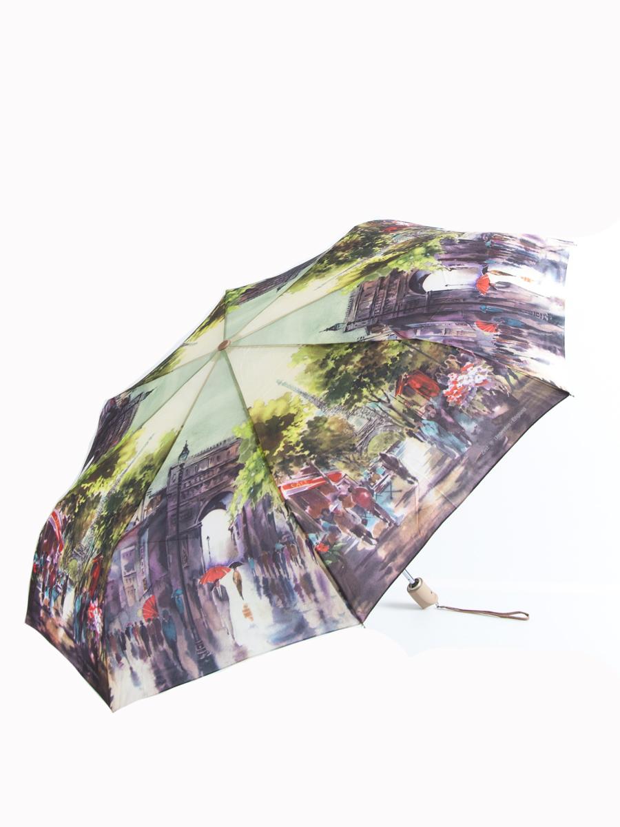 Зонт женский Zest, автомат, 3 сложения. 239555-61239555-61Женский автоматический зонт Zest в 3 сложения даже в ненастную погоду позволит вам оставаться стильной и элегантной. Каркас зонта состоит из 8 спиц из фибергласса и прочного алюминиевого стержня. Специальная система Windproof защищает его от поломок во время сильных порывов ветра. Купол зонта выполнен из прочного полиэстера с водоотталкивающей пропиткой и оформлен красочным изображением. Используемые высококачественные красители, а также покрытие Teflon обеспечивают длительное сохранение свойств ткани купола. Рукоятка, разработанная с учетом требований эргономики, выполнена из приятного на ощупь прорезиненного пластика бежевого цвета. Зонт имеет полный автоматический механизм сложения: купол открывается и закрывается нажатием кнопки на рукоятке, стержень складывается вручную до характерного щелчка, благодаря чему открыть и закрыть зонт можно одной рукой, что чрезвычайно удобно при входе в транспорт или помещение. На рукоятке для удобства есть небольшой шнурок,...