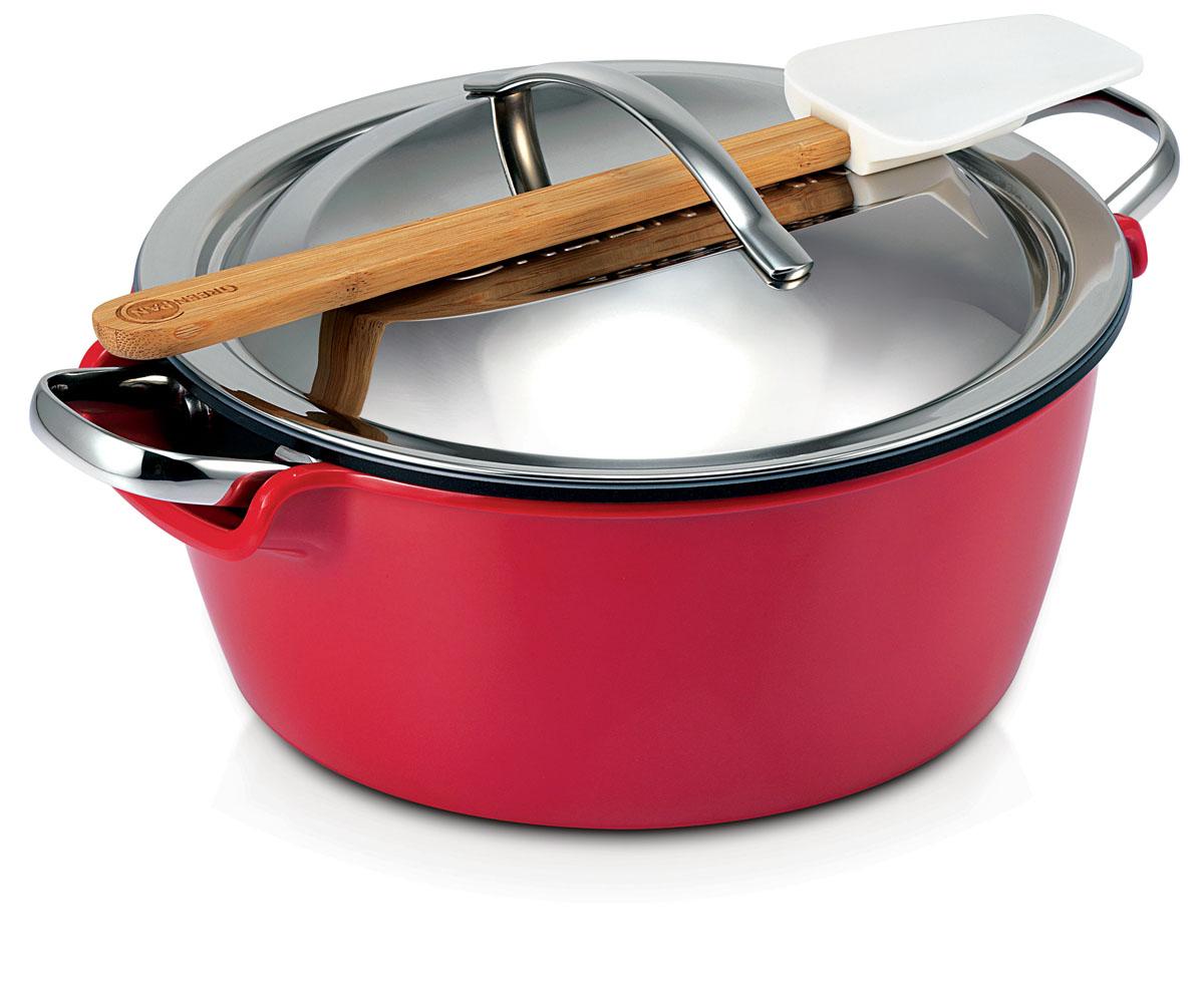 Набор посуды Essentials Hot Pot, 4 предмета. CW0001864CW0001864Многофункциональный набор Essentials Hot Pot состоит из алюминиевой кастрюли с керамическим покрытием Termolon, глубокой пластиковой миски термосет для сохранения пищи горячей, двойной стальной крышки-термоса, бамбуковой лопатки с силиконовой рабочей частью. Набор предназначен для приготовления нежных блюд с ярким вкусом. Сохраняет пищу горячей в течение 2-х часов. Набор посуды Essentials Hot Pot идеально подходит для приготовления любых блюд, в том числе фондю и различных соусов. Ваше блюдо останется горячим и свежим до двух часов благодаря специальной пластиковой емкости красного цвета. Все предметы можно использовать по отдельности, при приготовлении различных блюд. В кастрюле можно жарить, тушить, варить бульоны. Пластиковая емкость универсальна, ее можно использовать в процессе подготовки продуктов, в качестве вазы для фруктов, салатницы, для хранения готовых блюд. Подходит для использования на газовых, галогеновых, керамических плитах, варочных...