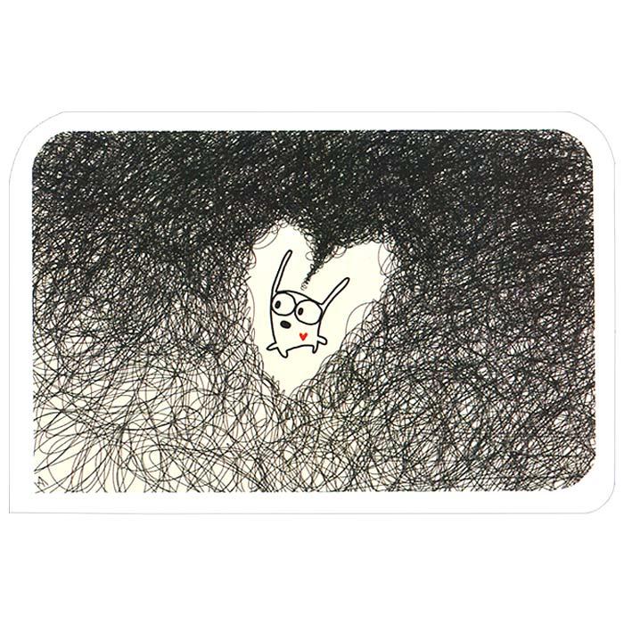Открытка Люблю. Ручная авторская работа. OT018OT018Авторская открытка Люблю станет необычным и ярким дополнением к подарку близкому человеку. Открытка оформлена изображением забавного зайца. Обратная сторона открытки не содержит текста, что позволит вам самостоятельно написать самые теплые и искренние пожелания. К открытке прилагается конверт.