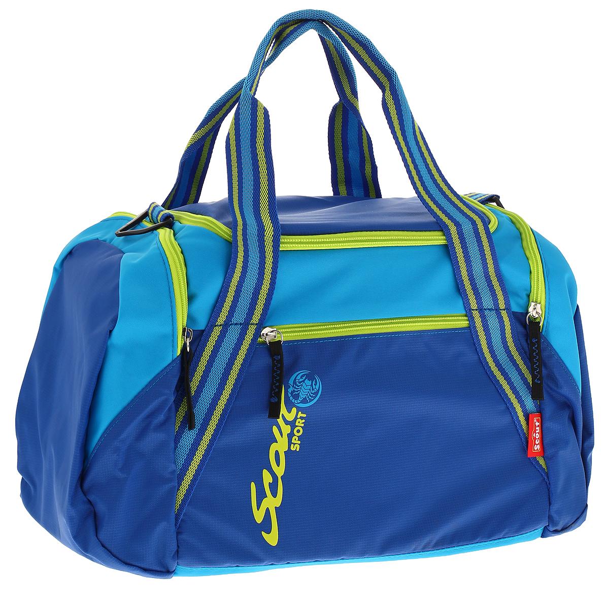 Сумка спортивная Scout, цвет: синий, голубой, салатовый257500-390Спортивная сумка Scout предназначена для переноски спортивных вещей, обуви и инвентаря. Сумка выполнена из прочного текстильного материала синего, голубого и салатового цветов и содержит одно вместительное отделение, закрывающееся на застежку-молнию с двумя бегунками. На тыльной стороне сумки расположен внешний карман для мелочей, закрывающийся на застежку-молнию. По бокам находятся два внешних кармана, закрывающихся также на застежки-молнии. Бегунки на застежках дополнены удобными текстильными держателями. Спортивная сумка оснащена двумя текстильными ручками для переноски в руке и съемным плечевым ремнем, регулируемым по длине. Характеристики: Материал: текстиль, пластик, металл. Размер сумки: 39 см х 29 см x 23 см.