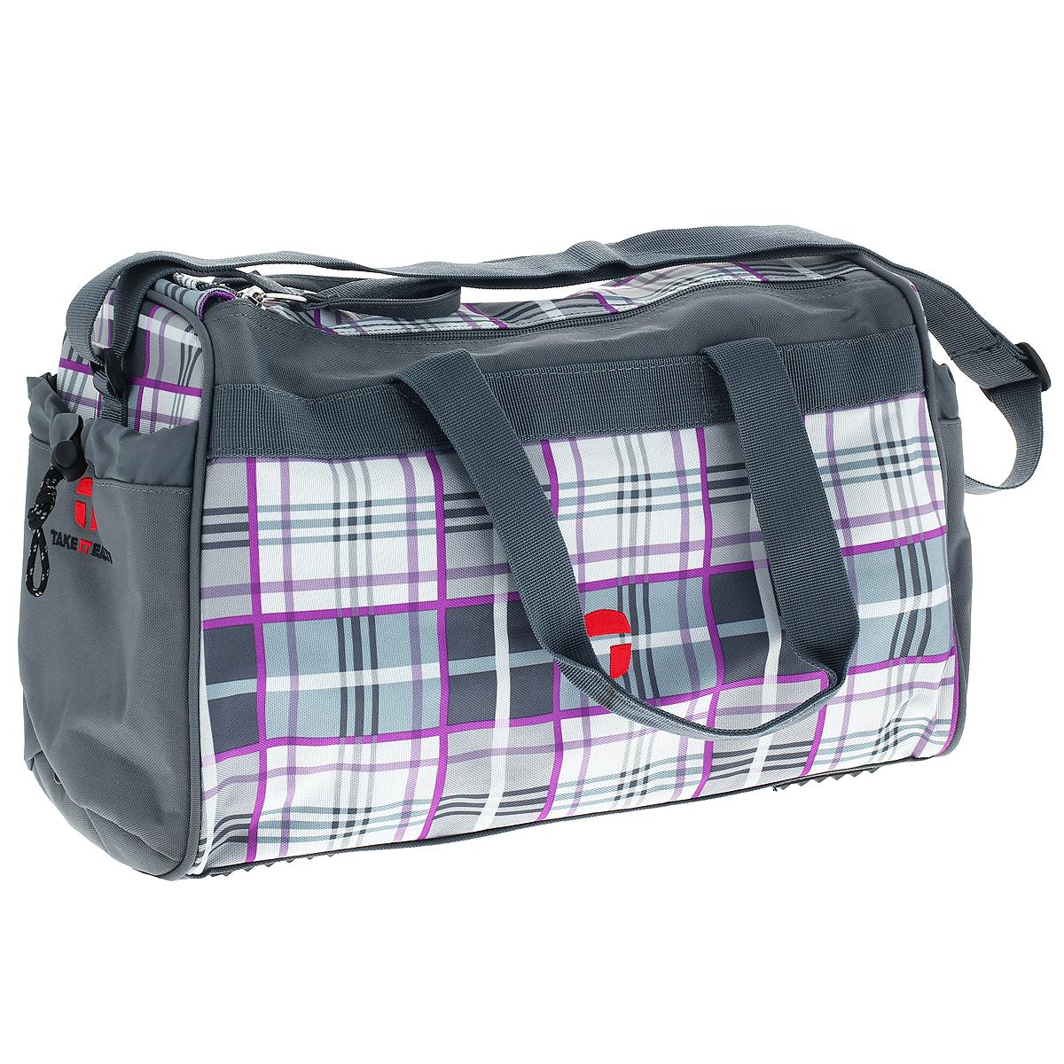 Сумка спортивная Take It Easy Килт, цвет: серый28407469190Спортивная сумка Take It Easy Килт предназначена для переноски спортивных вещей, обуви и инвентаря. Сумка ручной работы выполнена из современных резистентных материалов и оформлена графическим рисунком. Сумка имеет одно вместительное отделение, закрывающееся на две застежки-молнии. Бегунки на застежках соединены общим текстильным держателем. На тыльной стороне сумки расположен внешний карман для обуви, закрывающийся на застежку молнию. По бокам находятся два внешних кармана, затягивающиеся сверху текстильным шнурком с фиксатором. Спортивная сумка оснащена двумя текстильными ручками для переноски в руке и плечевым ремнем, регулируемым по длине. На дне сумки расположены четыре широкие пластиковые ножки, которые защитят ее от грязи и продлят срок службы. Характеристики: Материал: текстиль, пластик, металл. Размер сумки: 37 см х 20 см x 25 см. Объем сумки: 18 л.
