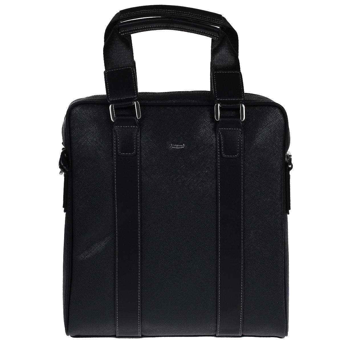 Сумка мужская Leighton, цвет: черный. 6111-3769/1/YB6111-3769/1/YBМужская сумка Leighton выполнена из высококачественной искусственной кожи черного цвета с рельефной текстурой. Сумка имеет одно вместительное отделение, которое закрывается на застежку-молнию. Внутри - открытый карман с отделением на молнии, вшитый карман на молнии и два накладных кармашка для телефона и мелких бумаг. Сумка оснащена двумя удобными ручками на металлических кольцах и отстегивающимся плечевым ремнем регулируемой длины. Фурнитура - серебристого цвета. Сегодня мужская сумка - это необходимый аксессуар, который не только уместит все необходимые вещи, но и подчеркнет ваш стиль.