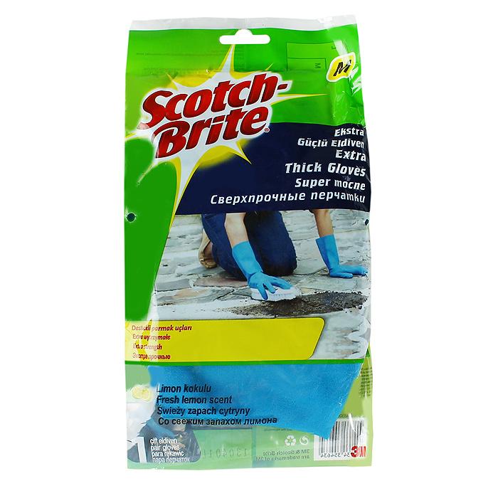 Перчатки Scotch Brite сверхпрочные, цвет: голубой. Размер МXX-0048-3006-1Резиновые перчатки Scotch Brite экстрапрочные с уплотненными кончиками пальцев и с приятным ароматом лимона, подходят для чувствительной кожи рук. Они защищают кожу рук при работе с бытовой химией, предохраняют от загрязнения и влаги, они идеально подходят для стирки уборки, и прочих работ по хозяйству. Перчатки удобные, принимают форму ладони, пористая поверхность лицевой стороны перчаток позволяет легко и уверенно держать необходимый предмет.