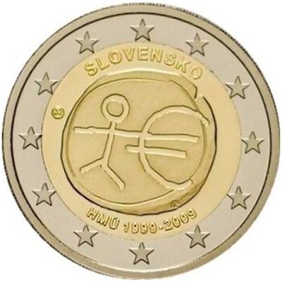 Монета номиналом 2 евро 10 лет экономическому и валютному союзу. Словакия, 2009 годF30 BLUEМонета номиналом 2 евро 10 лет экономическому и валютному союзу. Словакия, 2009 год Диаметр 2,5 см. Сохранность UNC (без обращения).