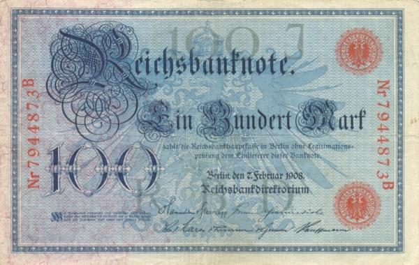 Банкнота номиналом 100 марок. Германия. 1908 годF30 BLUEРазмер 15,8 x 10,1 см.