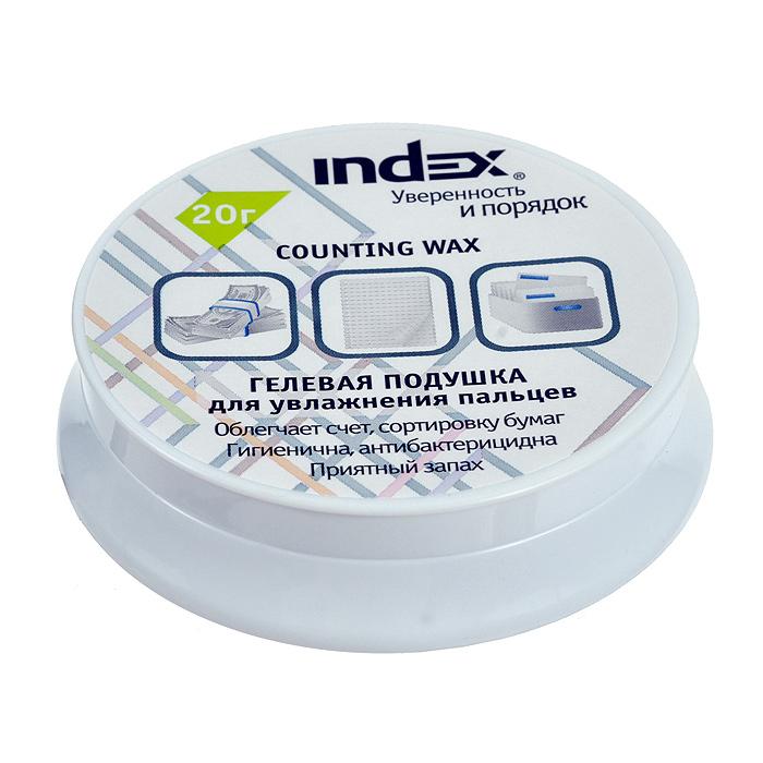 Подушка для смачивания пальцев Index, гелевая, 20 гI600Гелевая подушка Index служит для смачивания пальцев при работе с бумагами. Подушка помещена в пластиковую баночку с мягкими ножками, предотвращающими скольжение по столу и повреждение поверхности. Гель имеет нежный ментоловый аромат, не прилипает и не оставляет следов на бумаге. Такая подушка незаменима при больших объемах работы с бумажными документами. Характеристики: Вес: 20 г. Высота баночки: 2,5 см. Диаметр основания: 8 см. Материал: гель, пластик.