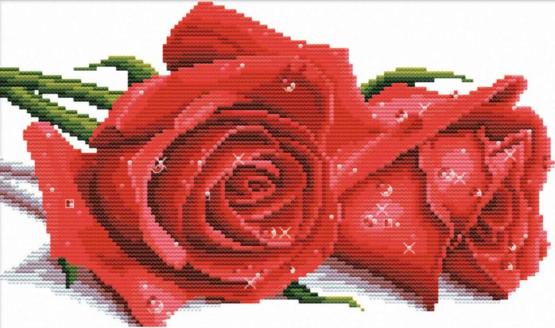 Набор для вышивания крестом Красные розы, 41 х 27 см7530-РКВ наборе для вышивания крестом Красные розы есть все необходимое для создания роскошной интерьерной картины: обработанная канва Аида 11 белого цвета с водорастворимым рисунком на канве, хлопковые мулине, цветная символьная схема, 2 иглы, инструкция по вышиванию на русском языке. Водорастворимая краска, с помощью которой на канву нанесен рисунок, смывается при замачивании вышивки в воде. Необычайной красоты рисунок-вышивка с изображением красных роз привлечет к себе внимание и будет потрясающе смотреться в интерьере вашего помещения, особенно в интерьере детской комнаты. Вышивание крестом отвлечет вас от повседневных забот и превратится в увлекательное занятие! Работа, сделанная своими руками, создаст особый уют и атмосферу в доме, и долгие годы будет радовать вас и ваших близких.