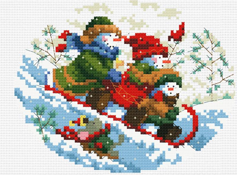 Набор для вышивания крестом Зимняя забава, 25 см х 21 см663-14В наборе для вышивания крестом Зимняя забава есть все необходимое для создания роскошной интерьерной картины: обработанная канва Аида 14 белого цвета, хлопковые мулине, цветная символьная схема, 2 иглы, инструкция по вышиванию на русском языке. Необычайной красоты рисунок-вышивка с изображением катающихся с горы снеговиков привлечет к себе внимание и будет потрясающе смотреться в интерьере вашего помещения, особенно в интерьере детской комнаты. Вышивание крестом отвлечет вас от повседневных забот и превратится в увлекательное занятие! Работа, сделанная своими руками, создаст особый уют и атмосферу в доме, и долгие годы будет радовать вас и ваших близких.