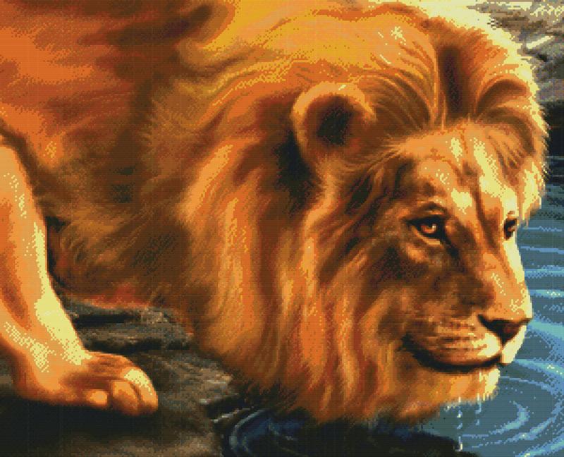 Набор для вышивания крестом Лев на водопое, 64 х 54 см2450-14В наборе для вышивания крестом Лев на водопое есть все необходимое для создания роскошной интерьерной картины: обработанная канва Аида 14 белого цвета, хлопковые мулине, цветная символьная схема, 2 иглы, инструкция по вышиванию на русском языке. Необычайной красоты рисунок-вышивка с изображением льва на водопое привлечет к себе внимание и будет потрясающе смотреться в интерьере вашего помещения, особенно в интерьере детской комнаты. Вышивание крестом отвлечет вас от повседневных забот и превратится в увлекательное занятие! Работа, сделанная своими руками, создаст особый уют и атмосферу в доме, и долгие годы будет радовать вас и ваших близких.