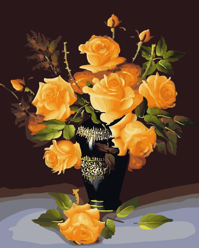 Живопись на холсте Букет желтых роз, 40 см х 50 см078-CGЖивопись на холсте Букет желтых роз - это набор для раскрашивания по номерам акриловыми красками на холсте. В набор входят: - холст на подрамнике с нанесенным рисунком, - пробный лист с нанесенным рисунком, - набор акриловых красок, - 3 кисти, - настенное крепление для готовой картины. Каждая краска имеет свой номер, соответствующий номеру на картинке. Нужно только аккуратно нанести необходимую краску на отмеченный для нее участок. Таким образом, шаг за шагом у вас получится великолепная картина. С помощью серии наборов Живопись на холсте вы можете стать настоящим художником и создателем прекрасных картин. Вы получите истинное удовольствие от погружения в процесс творчества и созданные своими руками картины украсят интерьер вашего дома или станут прекрасным подарком. Техника раскрашивания на холсте по номерам дает возможность легко рисовать даже сложные сюжеты. Прекрасно развивает художественный вкус, аккуратность и внимание....